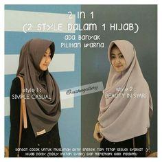 Bingung! Pengen tampil casual tapi juga pengen tampil syari tp klo  beli hijab 2 mahal  . . . Ups!! Sekarang ga perlu bgung lagi ukhti sayang.. @aisheegallery punya solusinya! . Hijab DAISY (Daily Instan Syari) Hijab yg cocoookk banget buat ukhti yg kdg pgen tampil casual dan tetep syari. Hijab ini bisaa banget dibuat 2 style. .  Jadi menghemat duit kan? Hihi.. .  Bisa ditabung buat nikah  dan hijab ini didesain dg PET ANTEM (yg bisa menutupi pipi chubbymu)  .  Tersedia banyaaaakkk banget…