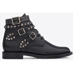 Saint Laurent Signature Rangers Studded Boots In Black Leather ($1,395) via Polyvore
