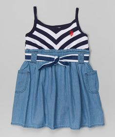 Love this Navy Chevron Belted Dress - Toddler & Girls on #zulily! #zulilyfinds
