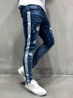 "Men Skinny Fit 2 Sides Stripes ""let's Go"" Ripped Jeans - Blue 4057 Cargo Jeans, Denim Jeans Men, Jeans Fit, Jeans Style, Jeans Pants, Jeans For Men, Skinny Jeans, Streetwear Jeans, Streetwear Shop"