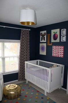 Navy walls for girl nursery