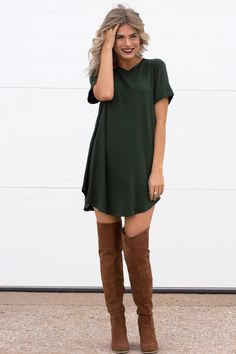 Luna Olive T-Shirt Dress