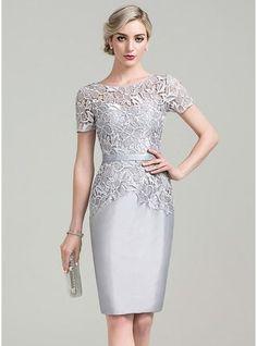 Etui-Linie U-Ausschnitt Knielang Reißverschluss Mit Ärmeln Kurze Ärmel Nein 2016 Silber Übliche Übergröße Taft Lace Kleid für die Brautmutter