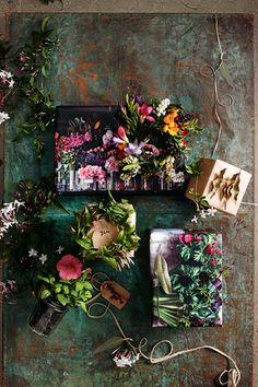 Dark floral gift wrap.