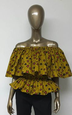 African Print Off-Shoulder Top. Peplum. Ankara by NanayahStudio