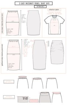 Supplies: 1 to 2 yards of stretchy fabric measuring tape sewing machine pins scissors thread *optional oversized tee for the refashionInstructions: VERY BASIC PENCIL SKIRT 1.Cut out your front and bac
