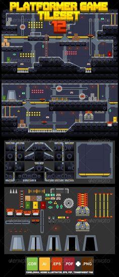 Platformer Game Tile Set 12