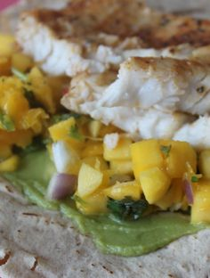 Tilapia Wrap with Mango and Guacamole! Love this idea for a quick, healthy, and easy meal! | healthy diva eats