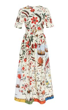 Belted Printed Silk-Twill Midi Dress by Oscar de la Renta Beautiful Summer Dresses, Pretty Dresses, Beautiful Outfits, 90s Fashion, Fashion Dresses, Mode Inspiration, Get Dressed, Pretty Outfits, Dress To Impress