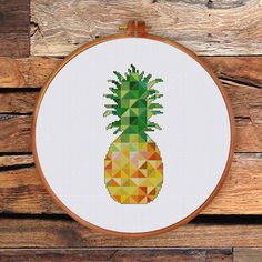 Geometric Pineapple, geometric cross stitch pattern, minimalist wall decor, contemporary house decoration, pineapple art, kitchen decor