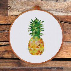Ananas géométrique point de croix | Ananas moderne compté point de croix | Cuisine de croix au point de patron pdf | Fruits au point de croix