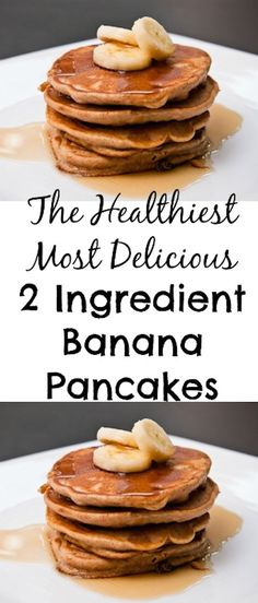 ALL NATURAL PANCAKE RECIPE... NO PROCESSED ANYTHING. This is really The Healthiest Most Delicious 2 Ingredient Banana Pancakes recipe ever! #banana #pancakes #healthy #breakfast #recipe #2ingredient via @creativehealthyfamily