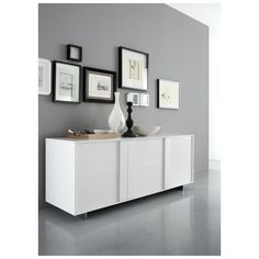 Stripe White Glossy Buffet - Rossetto | Buffets and Cabinets