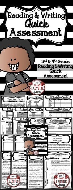 Quick Reading and Writing Assessment {Grades 3-4} | Fables | Narrative | Expository | Quick Screen | Tutoring  This tool was created for teachers, tutors, and small group Reading Teachers to use as a QUICK MINI Assessment to assess their students in grades 3-4.The purpose of the tool is to assess QUICKLY and to get an understanding of your students skills in Reading, Writing.