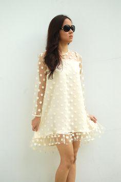 Dress white dots bridesmaids mini S/M romantic by wonderflow