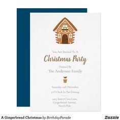A Gingerbread Christmas Invitation Christmas Party Invitations, You Are Invited, Gingerbread Man, Party Hats, Xmas, Holiday, Yule, Vacations, Holidays