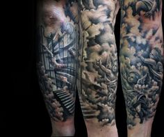 Angels Mens Heaven Clouds Forearm Sleeve Tattoo