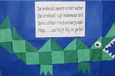 krokodil POEM + shapes, patterns, etc juf-joyce. Safari Jungle, Jungle Theme, Jungle Animals, Dramatic Play Themes, Kids Zoo, Reptiles, Louisiana Art, Teacher Inspiration, Art Activities For Kids