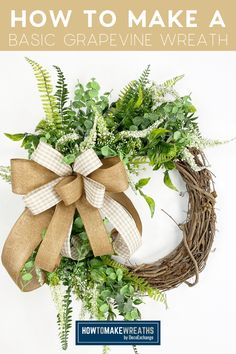 Coach Mel is showing you how to make a simple grapevine wreath idea that's perfect for every day and will sell in your shop all year long. How To Make Bows, How To Make Wreaths, Make Your Own Wreath, Wreath Making, Wreath Supplies, Wreath Tutorial, Trendy Tree, Front Door Decor, Easter Wreaths