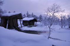 Traditional Finnish smoke sauna and ice swimming hole. Kiilopää, Saariselkä. Amazing finnish Lapland.
