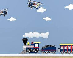 Childrens Train and Airplanes Wall Decals