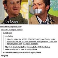 Lol, Love everything about this :P #Supernatural #Castiel #Gabriel