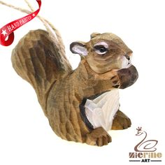 New Listing!Wooden Animal Craft Wood Carving Squirrel Ornament Wall Deco ZR10028 #ZL #Ornament