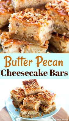 Butter Pecan Cheesecake Bars #cheesecake #sweets #dessert #dessertrecipes #pecans #holidays #holidaybaking #butterpecan #recipe #cookiebars #dessert #recipes