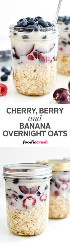 Oats, berries, cherries and banana soak in almond milk overnight in the refrigerator to create a no-cook red, white and blue layered on-the-go breakfast | http://foodiecrush.com