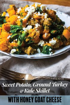 This Sweet Potato, Ground Turkey and Kale Skillet with Honey Goat Cheese is light, flavorful, and on your dinner table in just 30 minutes! Sweet Potato Kale, Sweet Potato Chili, Healthy Recipes, Simple Recipes, Healthy Foods, Turkey Curry, Goat Cheese Recipes, Appetizer Recipes, Dinner Recipes