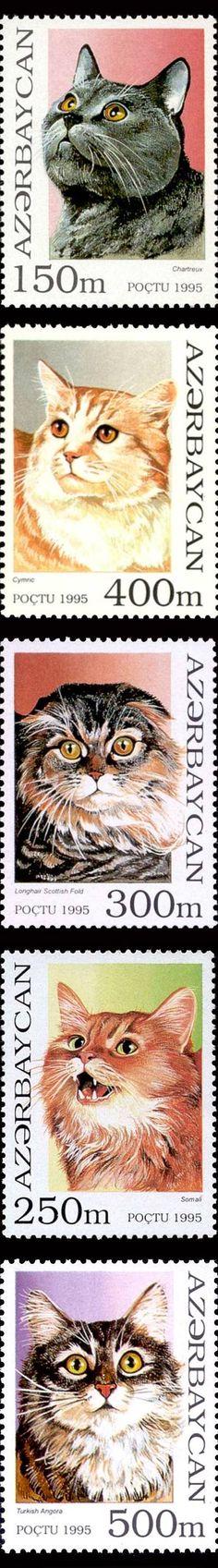 Azerbaijan cat postage stamp series 1995