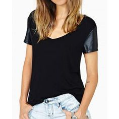Simple Style V-Neck Faux Leather Spliced Black T-Shirt For Women
