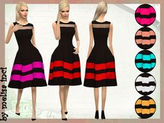 Colorblock Stripe Fit Flare Dress by melisa inci at TSR • Sims 4 Updates