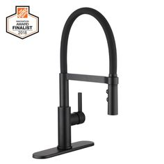 Glacier Bay Statham Single-Handle Rubber Hose Springneck Pull-Down Sprayer Kitchen Faucet in Matte Black