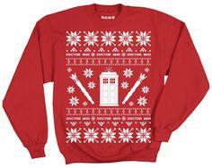 Doctor Who Tardis Police Box Adult Ugly Christmas Pattern Sweatshirt $38.99