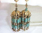 Vintage Egyptian Revival Faience Turquoise Clay Tubular Beads Chandelier Earrings HTF