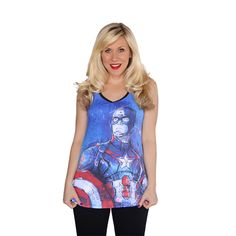 "Her Universe ""CAPTAIN AMERICA TANK"" ($28.00) ~ ""Warning, by wearing this tank top one will automatically feel empowered to stand up for what she believes, no matter the odds or the consequences. Not only is this tank top a great value but it also stands for the value of strength and power!"""