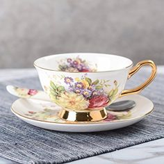 TouchLife Bone China Ceramic Tea Cup Coffee Cup Set with Saucer,Small Flower,White and Red,With Gift Box Advanced Ceramics, Coffee Cup Set, China Cups And Saucers, Flower Fashion, Small Flowers, Creative Gifts, Bone China, Tea Set, Cup And Saucer