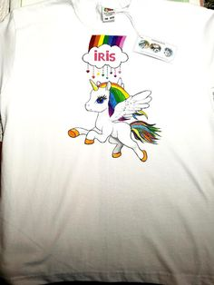 Handmade by Do : Unicorn hand painted T-shirt/ Tricou pictat manual. Greek Pattern, Ceramic Angels, Flower Stands, On October 3rd, Textiles, Hand Painted, T Shirt, Kids, Handmade