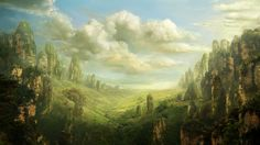 landscape, pulpoglow, art, rock, valley, fantasy, fantasy, valley wallpaper