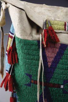 American Indian Art:Beadwork, A SIOUX BEADED HIDE TIPI BAG. . c. 1890. ...