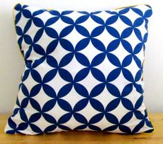 Bright blue printed scatter cushion cover by ScarletPincushion