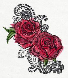 "708673  Ravishing Painted Roses design (UT7874) from UrbanThreads.com (35,081 stitches) 5.87""w x 6.81""h"