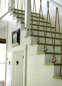 101 DIY Projects How To Make Your Home Better Place For Living (Part 1), Rope Stair Rail, Tacky or Cool…