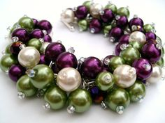 Chunky Bracelet Magenta Green Ivory Pearl Beaded by KIMMSMITH, $20.00