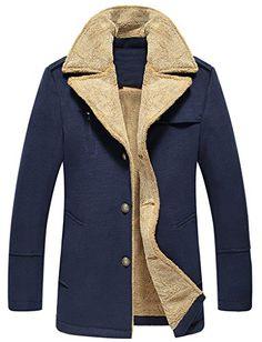 Top-EC Mens Warm Woollen Fur Collar Coat (Dark Blue,L) Mens Dress Pants, Suit Pants, Men Dress, Fur Collar Coat, Fur Collars, Suit Jackets, Mens Suits, Dark Blue, Satin