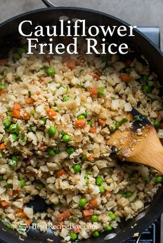 How to make cauliflower fried rice? Easy cauliflower fried rice recipe and healthy fried rice cauliflower recipe . It's a quick healthy cauliflower recipe. Healthy Fried Rice, Healthy Rice Recipes, Vegetable Fried Rice, Vegetable Dishes, Vegetable Recipes, Vegetarian Recipes, Best Recipe Box Cauliflower Fried Rice, Califlower Fried Rice, Frozen Cauliflower Recipes