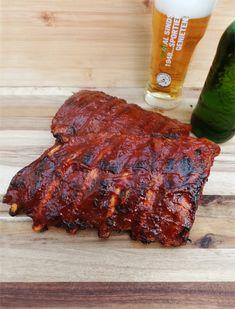 Spareribs van de BBQ - Bereid in bier en botermals! Spare Ribs, Barbecue Recipes, Smoking Meat, Food Blogs, Crockpot, Grilling, Pork, Food And Drink, Snacks