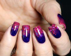 Ombre + glitter nail art