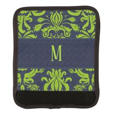 Navy Blue and Jade Green Retro Pattern Monogrammed Luggage Handle Wrap - blue gifts style giftidea diy cyo